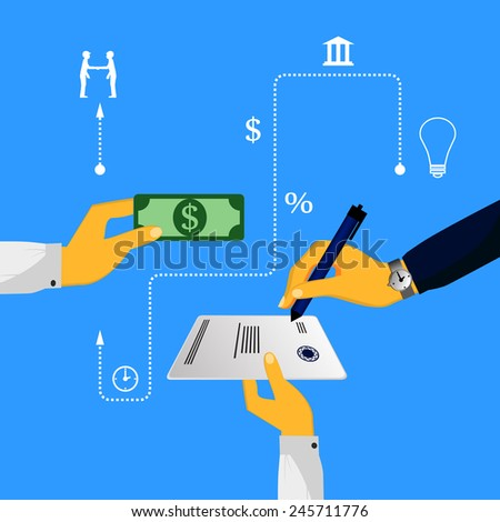 Vector infographics concept of credit, banks, transfer of funds - stock vector