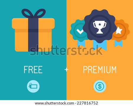 Vector infographics depicting freemium business model - free of charge and free to play apps and games - paying for premium features and services - conceptual illustration in flat style