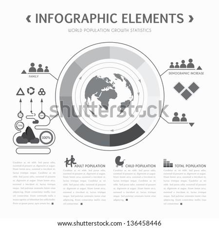 Vector infographics design template in gray - stock vector