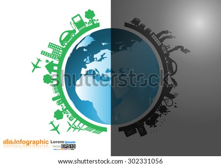 Vector Infographics design with environment two-side comparisonside nature global warming Illegal pollution Destroying  Environment and side eco friendly, energy, environment. - stock vector