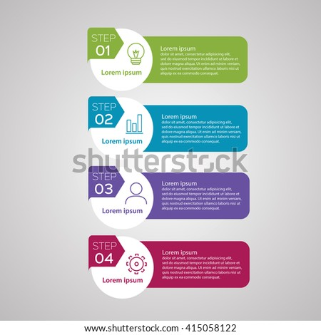 Vector infographics of technology or education process, number options, web design, timeline elements. - stock vector