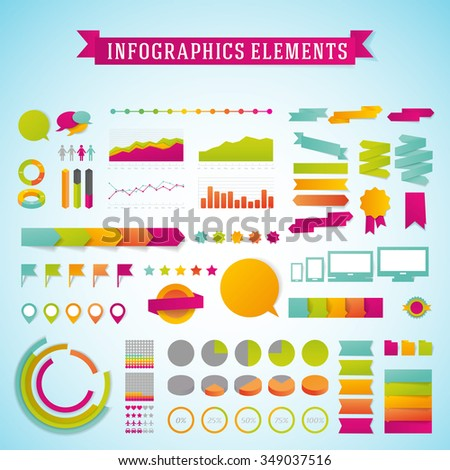 Vector infographics template design elements set. Info graphics icons template. Infographics
