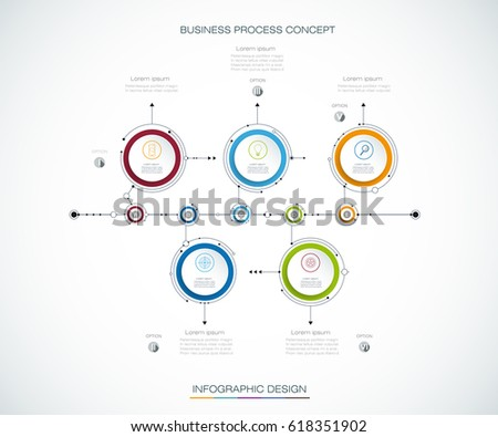 Vector infographics timeline design template with label design and 5 options or steps. Can be used for content, business, process infographic, diagram chart, flowchart, process diagram, time line