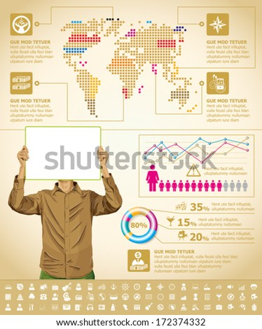 Vector infographics with business man, earth map and web icons, and elements usefull for any visualisations - stock vector