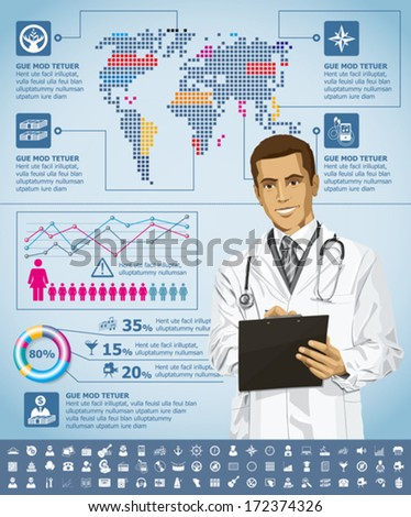 Vector infographics with doctor, earth map and web icons, and elements usefull for any visualisations - stock vector