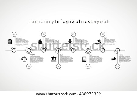 Vector infographics with judiciary icons. - stock vector