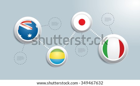 Vector infographics with national flags.