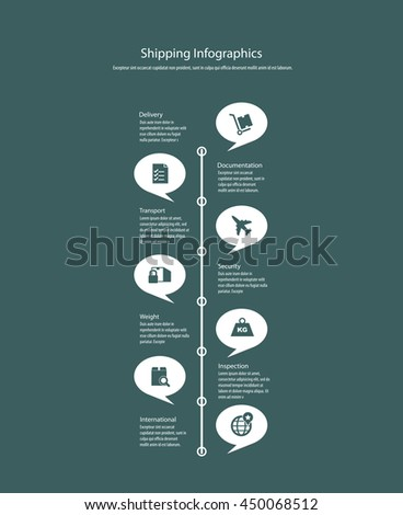 Vector infographics with shipping icons. - stock vector