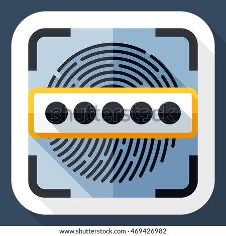 Vector Information Security Concept - Fingerprint Scanner and Password icon