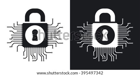 Vector information security concept icon. Two-tone version on black and white background - stock vector