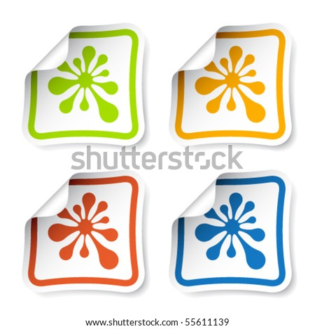 vector ink blot stickers - stock vector