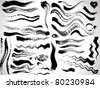 vector ink brush strokes set - stock photo