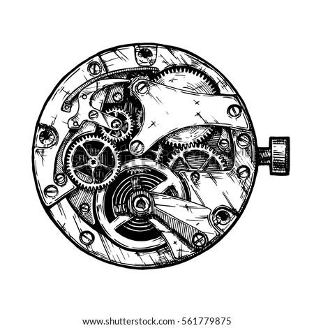 vector ink hand drawn illustration clockwork stock vector