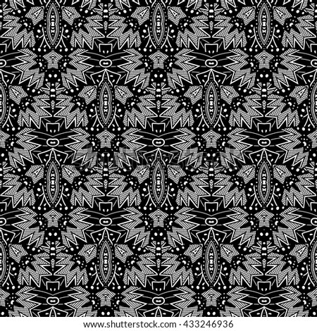 Vector Ink Tribal Pattern. Aztec Seamless Background