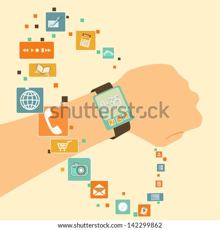 vector innovation watch, rich function, touch and computing screen - stock vector