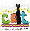 "Vector  inscription ""CAT"" and little black cat with flowers. - stock vector"