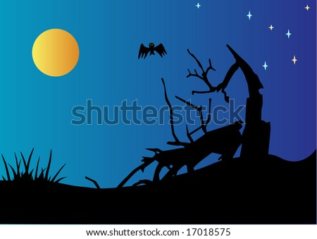 Vector installation of night scene with cracked tree