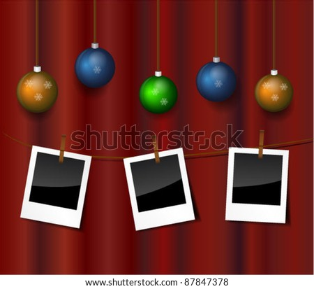 Vector instant photos hanging against red backdrop with Christmas baubles - stock vector