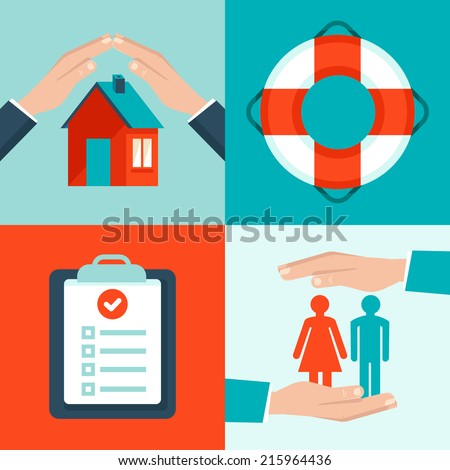 Vector insurance concepts in flat style - icons and infographic design elements - protect and safe health and  property - stock vector