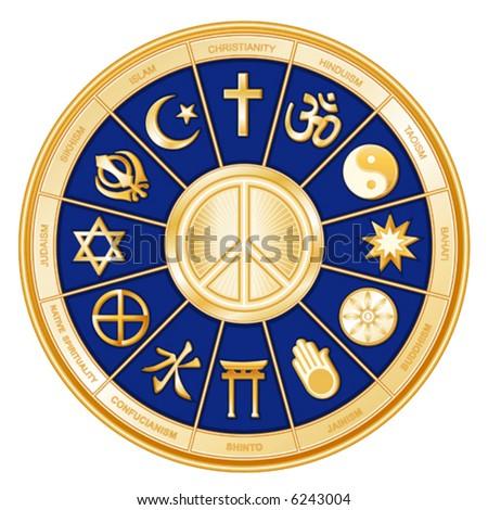 vector, INT'L PEACE SYMBOL, WORLD RELIGIONS. Christianity, Hinduism, Taoism, Baha'i, Buddhism, Jainism, Shinto, Confucianism, Native Spirituality, Judaism, Sikhism, Islam. EPS8 compatible. - stock vector
