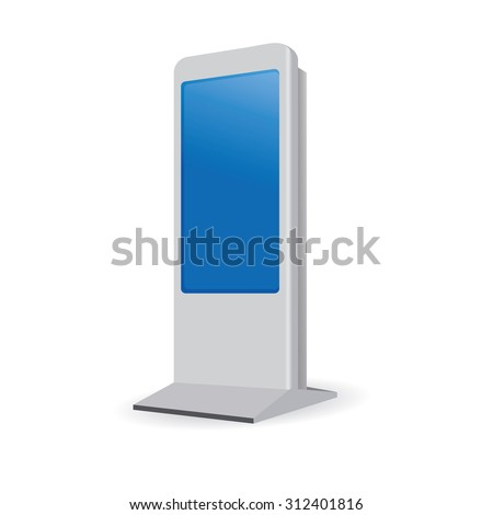 Vector Interactive Information Kiosk Terminal Stand Touch Screen Display, white background  - stock vector