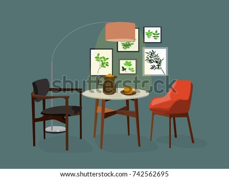 Vector Interior Design Illustration Dining Room Furniture Home House Decor Decoration Table Chairs
