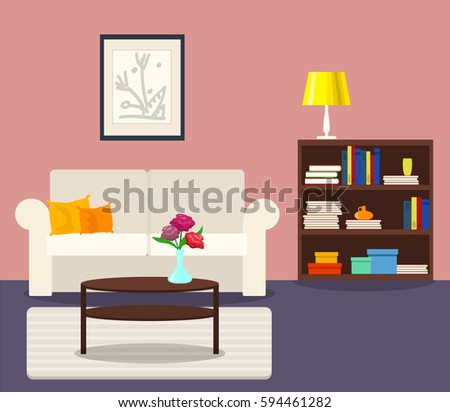 Vector Interior Flat Design Living Room Stock Vector 594461282 ...