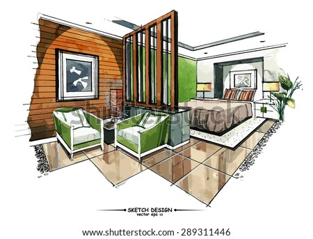 vector interior sketch design watercolor sketching idea on white paper background