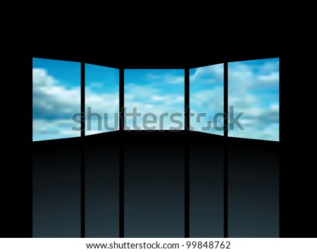 vector interior with five screens with cloudy sky - stock vector