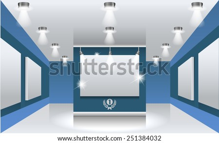 Vector interiors. Exhibition hall with white frames on the wall, illuminated by floodlights. Part of set. - stock vector