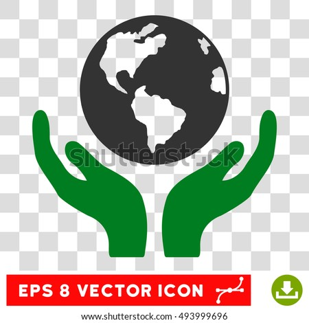 Vector International Insurance EPS vector icon. Illustration style is flat iconic bicolor green and gray symbol on a transparent background.