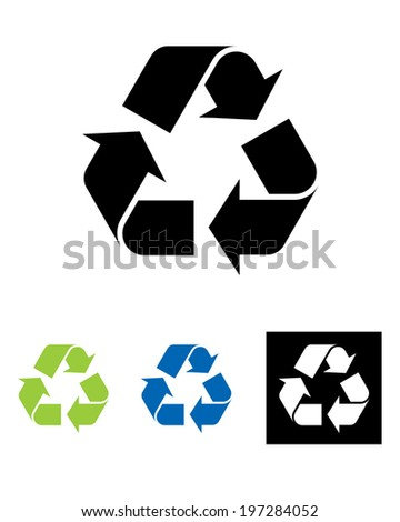 Vector international recycling symbol set in colour, black and reverse - stock vector