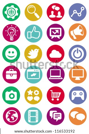 Vector internet and technology icons - set of bright pictograms - stock vector