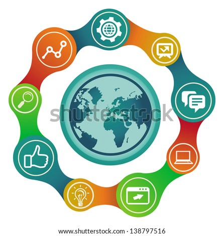 Vector internet concept with globe and social media icons - stock vector