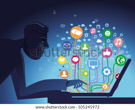 vector internet concept - with social media icons - stock vector