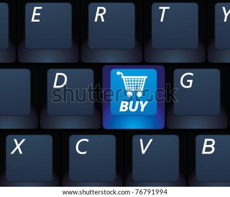 Vector internet shopping buy key on a black keyboard - e-commerce concept illustration - stock vector