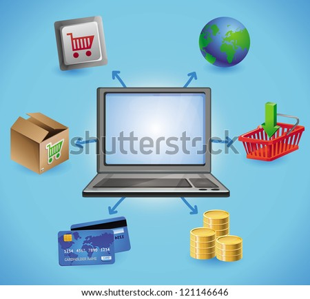 Vector internet shopping concept - with laptop and icons - stock vector