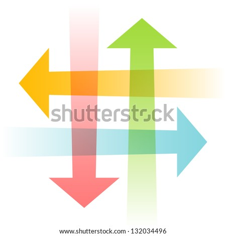 Vector intersecting arrows. Abstract illustration for web, print template. Simple color icon with concept of communication, connect, exchange of information, search for compromise, problem solving - stock vector