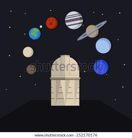 Vector interstellar space illustration with Observatory astronomy tower under star sky and planets of Solar system.  - stock vector