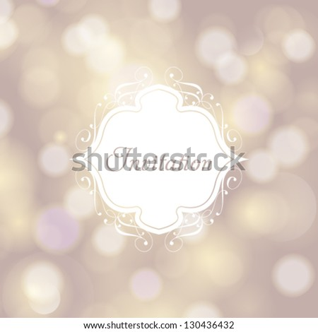 Vector invitation, anniversary card with white floral label for your personalized text and magic bokeh background. Perfect as invitation or announcement. - stock vector
