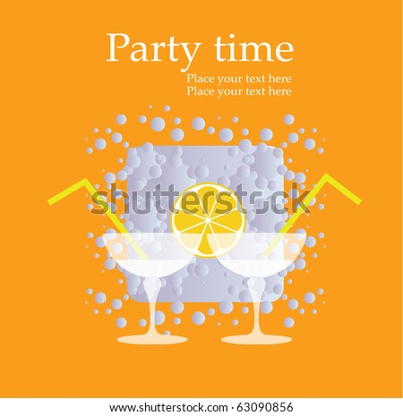 Vector invitation card to a party with two cocktails, eps10