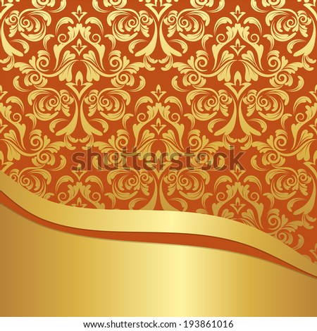 vector invitation card with damask pattern and golden design elements - stock vector