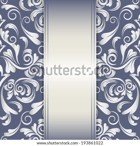 vector invitation card with damask pattern and silver design elements