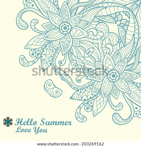 Vector invitation card with ornamental round floral doodle. Ornamental round lace pattern, circle background with many details. Abstract vector decorative floral backgrounds. Template design for card. - stock vector