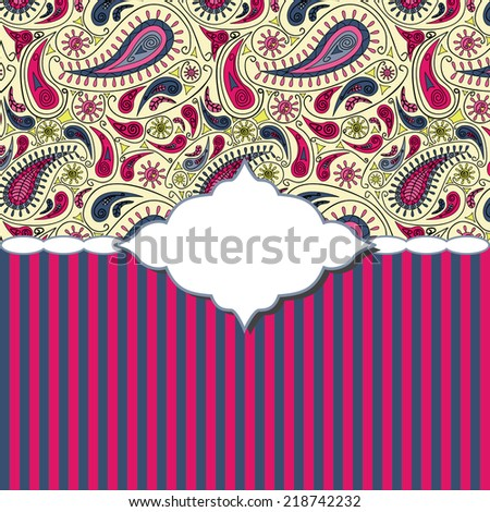Vector invitation card with Turkish cucumber pattern, stripes and white frame for an inscription - stock vector