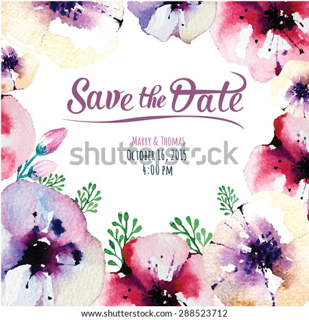 Vector  invitation card with watercolor elements. Wedding collection. Save the date with floral elements. Blossom flowers - stock vector