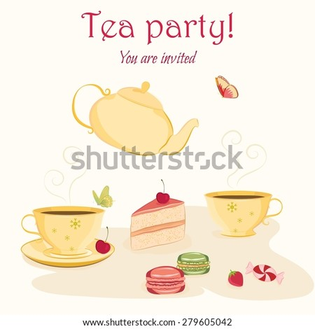 Vector invitation template for tea or birthday party with hand drawn cups, teapot, sweets and butterflies. Elegant and cute design with vintage feel - stock vector
