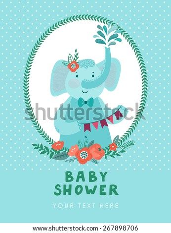 Vector invitation template with cute smiling elephant. Baby shower card. Childish background with cartoon character. - stock vector