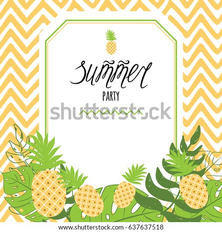 Vector invitation template pineapple text summer stock vector vector invitation template with pineapple text summer party on pineapple yellow striped zig stopboris Images