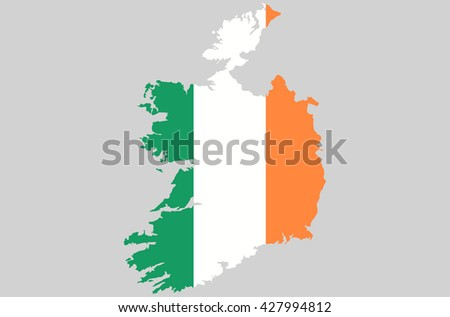 Vector Ireland topographic map. Ireland flag on borders of the country. Flat style design. Irish border contour. Original color flag. Vector graphic design element clip art illustration - stock vector